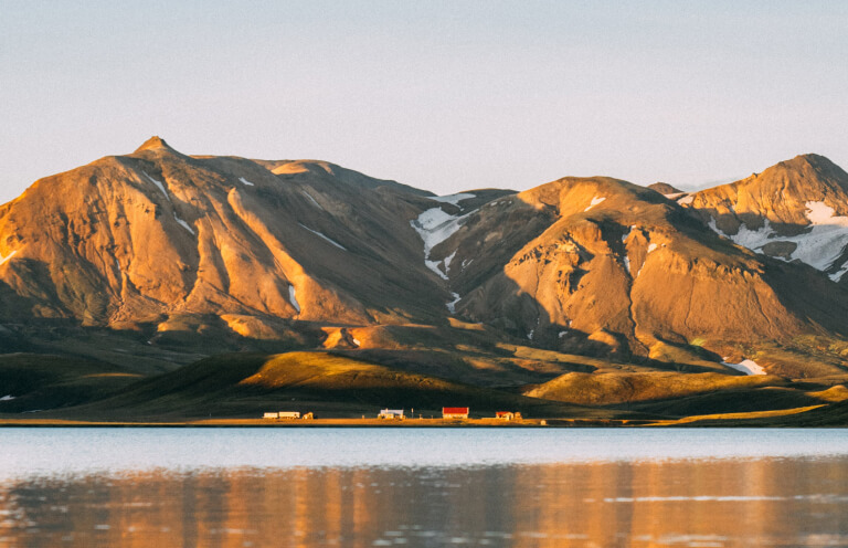 The mountains towering above the Alftavatn lake.