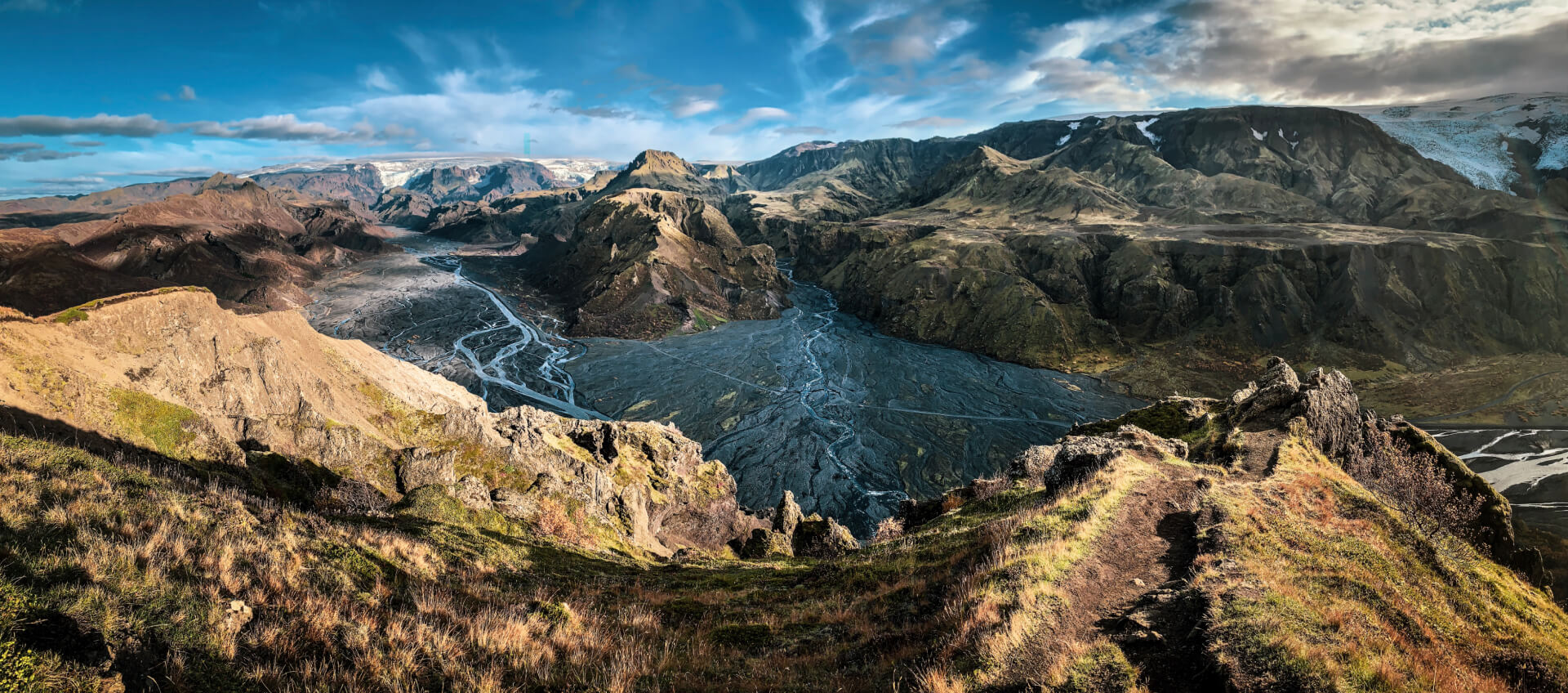 A panorama of a breathtaking landscape of Iceland.