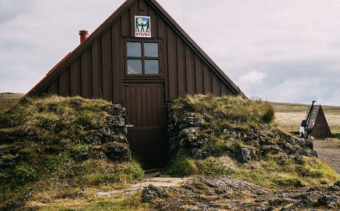 The hiking trails on Iceland are filled with mountain huts for a welcome place of respite.