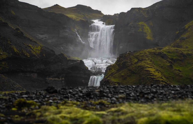 Ofaerufoss is a waterfall located in the Vatnajokull National Park.