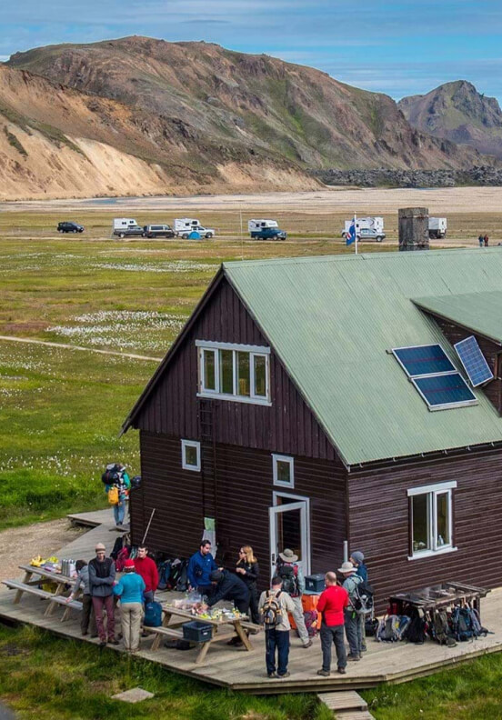 You will spend your nights in one of the six traditional mountain huts on the Laugavegur Trail.