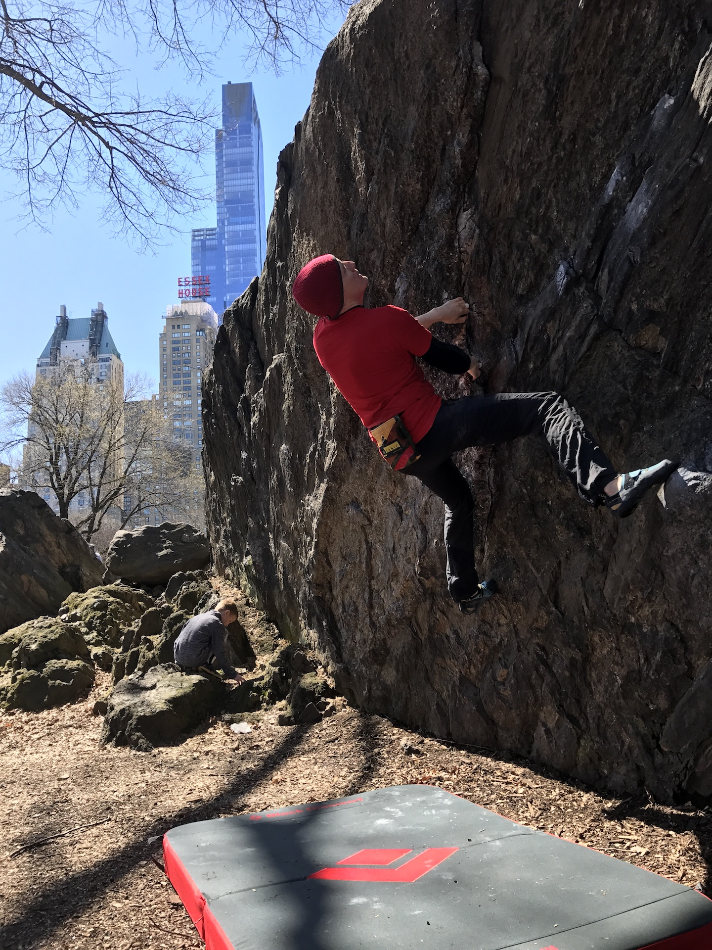 Climbing in the city offers a beautiful backdrop.