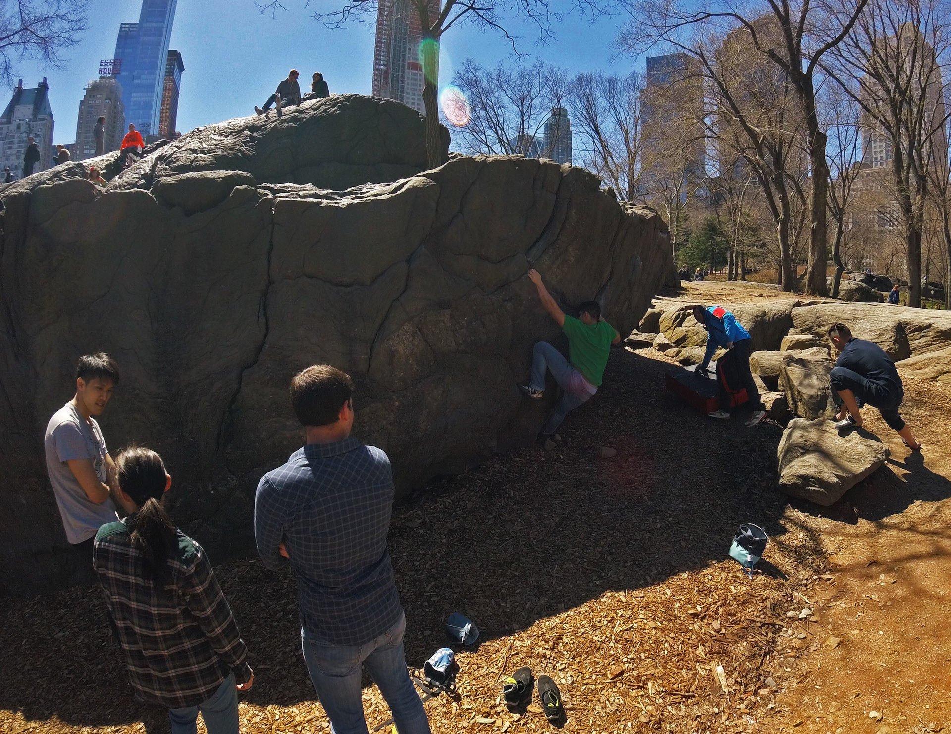 Bouldering in Central Park.