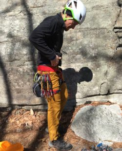 Viktor in his rock climbing gear