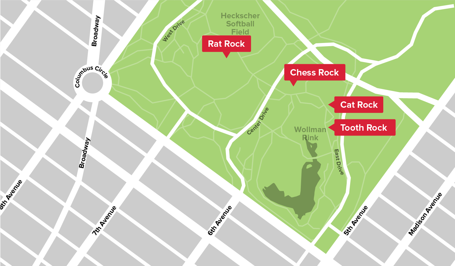 Map of Bouldering Spots in Central Park