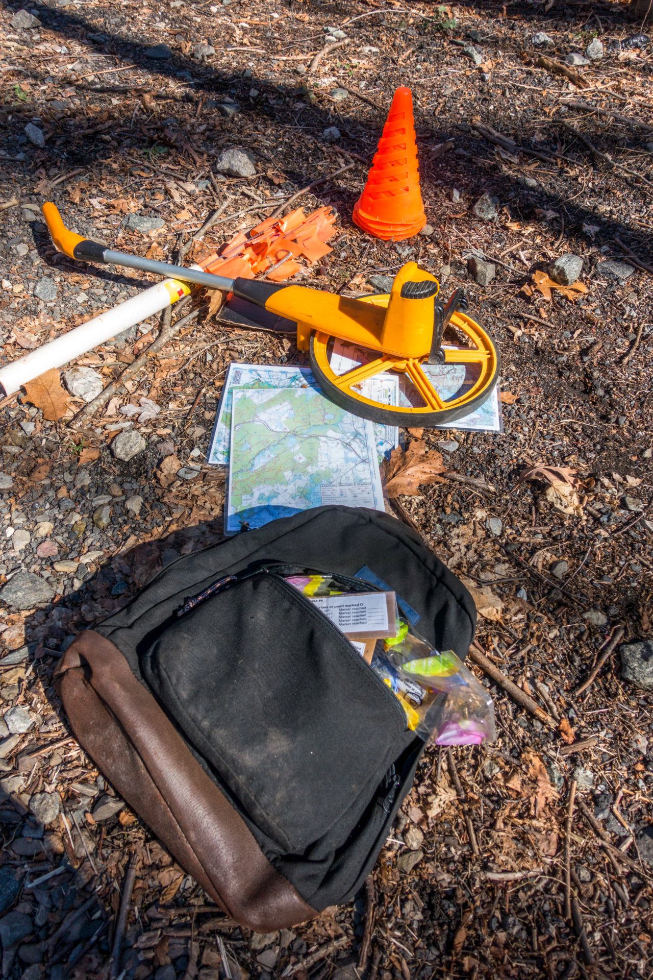 John's setup gear for our first wilderness navigation lesson.