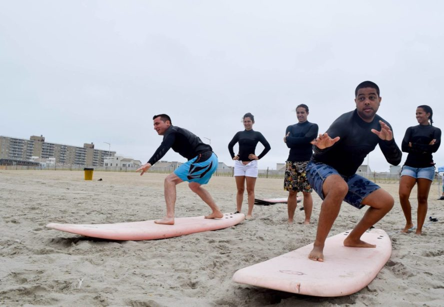 Learning to surf is difficult enough, then they added Karate.