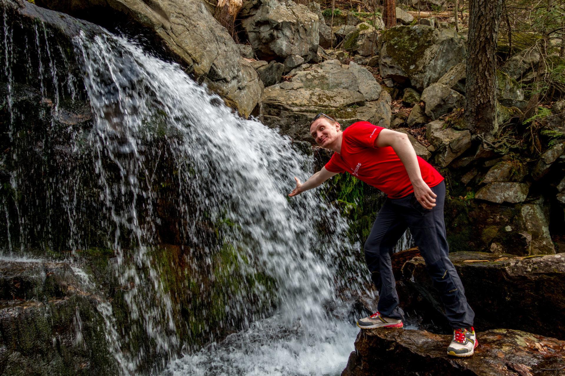 Perica enjoys the waterfall