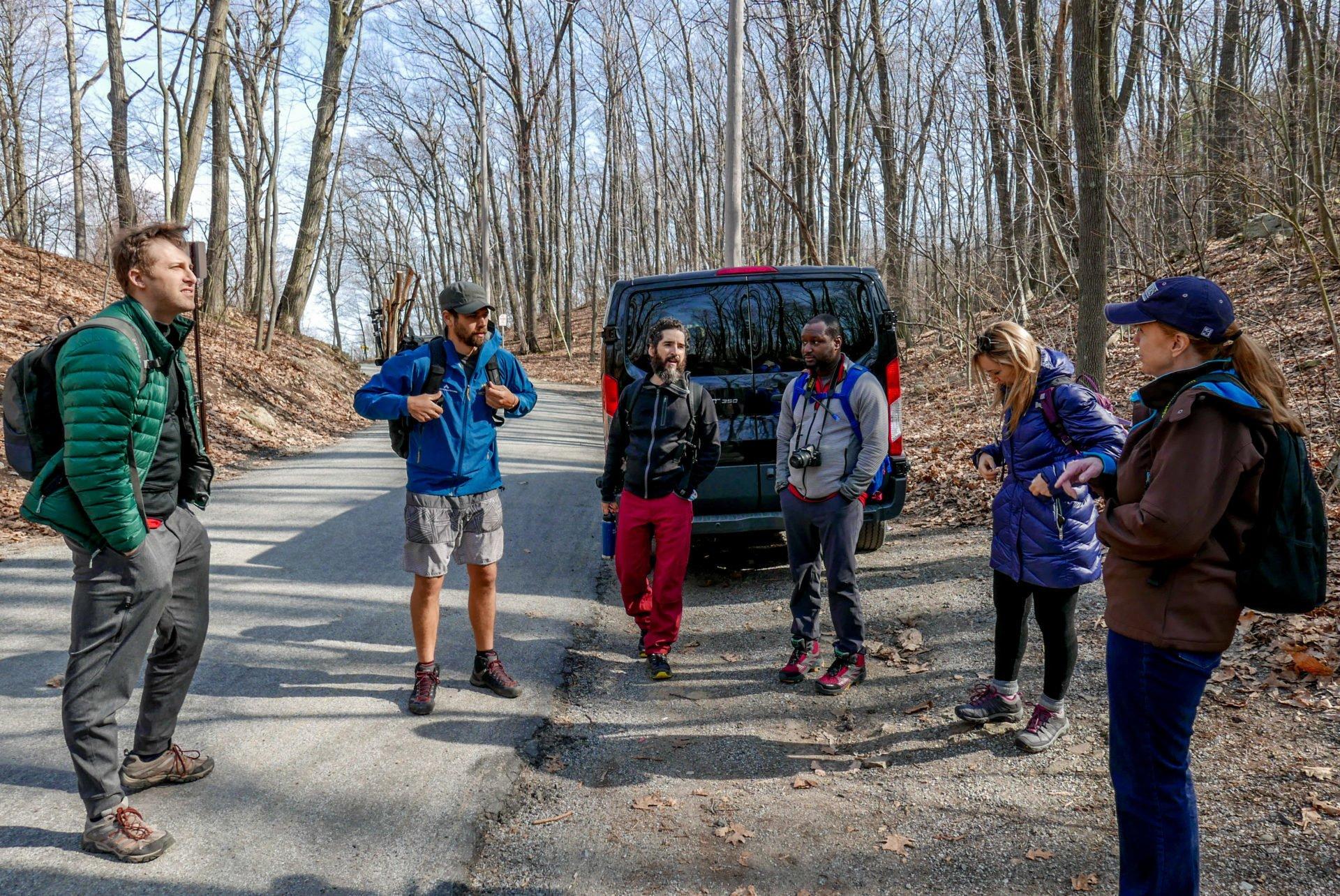 A pre-hike meeting at the van