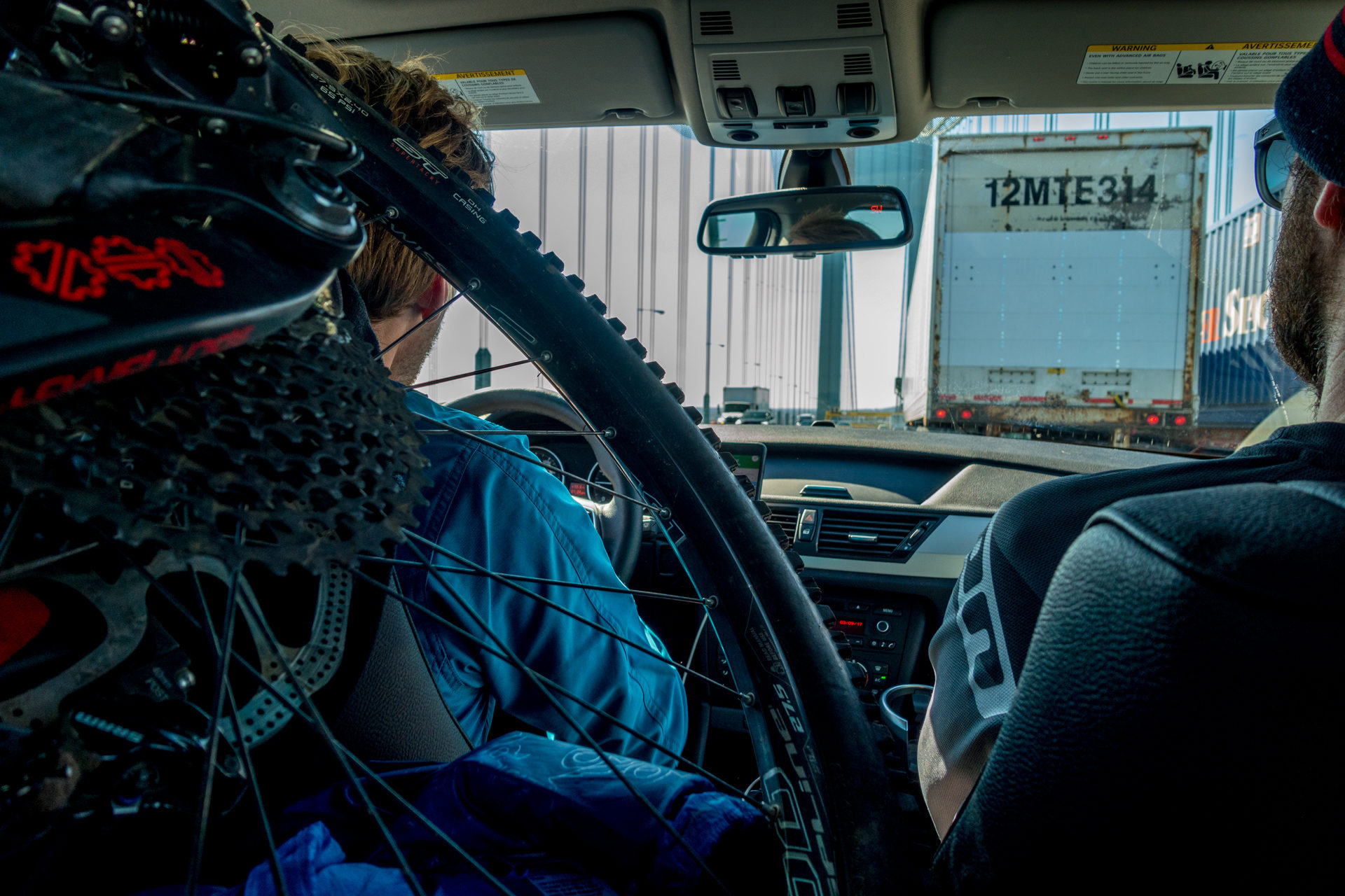 A recipe for mountain biking: Fill a car with bikes and people!