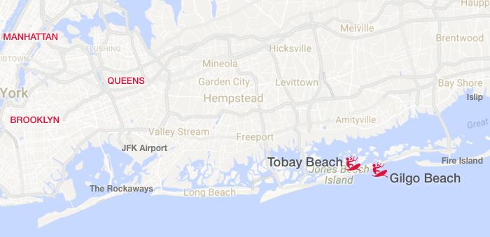 Kiteboarding spots around Jones Beach Island: Gilgo and Tobay Beaches
