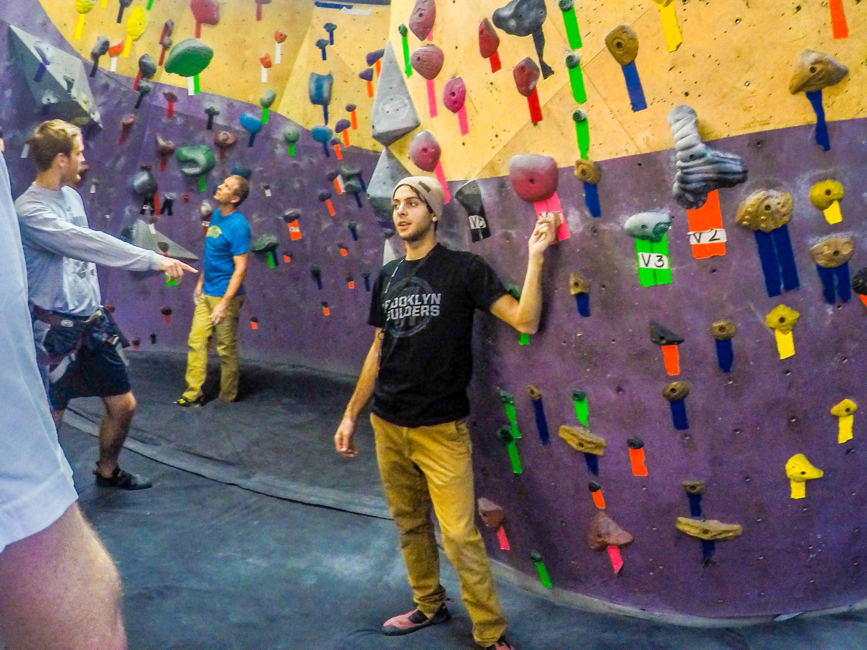 Our instructor Marcus, at Brooklyn Boulders rock climbing gym, Gowanus