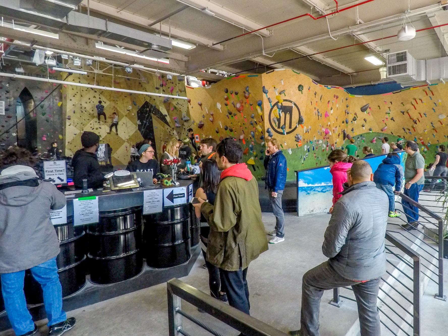 The front desk at Brooklyn Boulders rock climbing gym, Gowanus