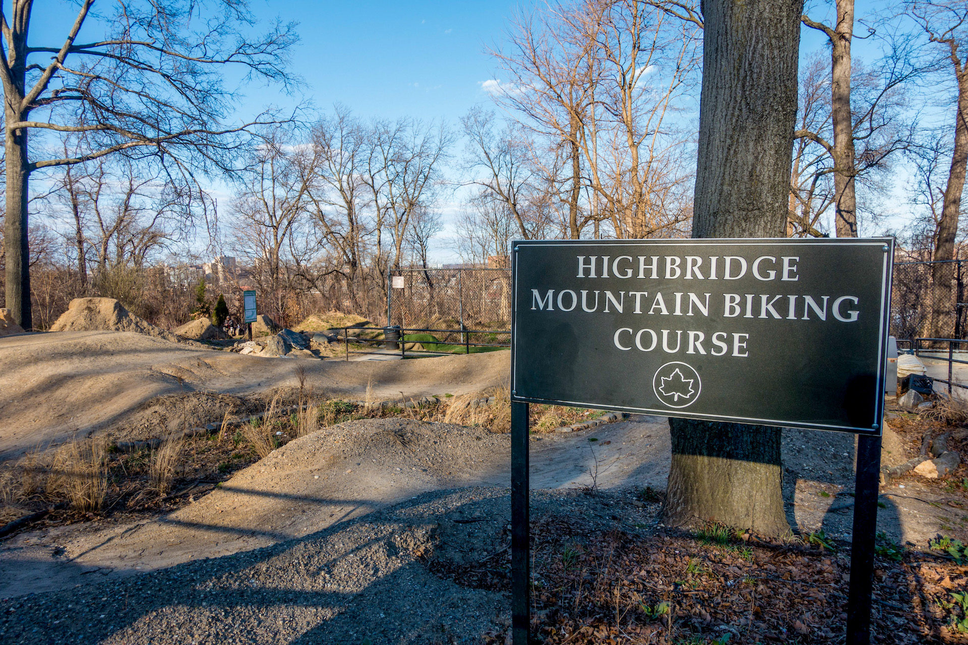 The Highbridge trail marker at the top of the hill.