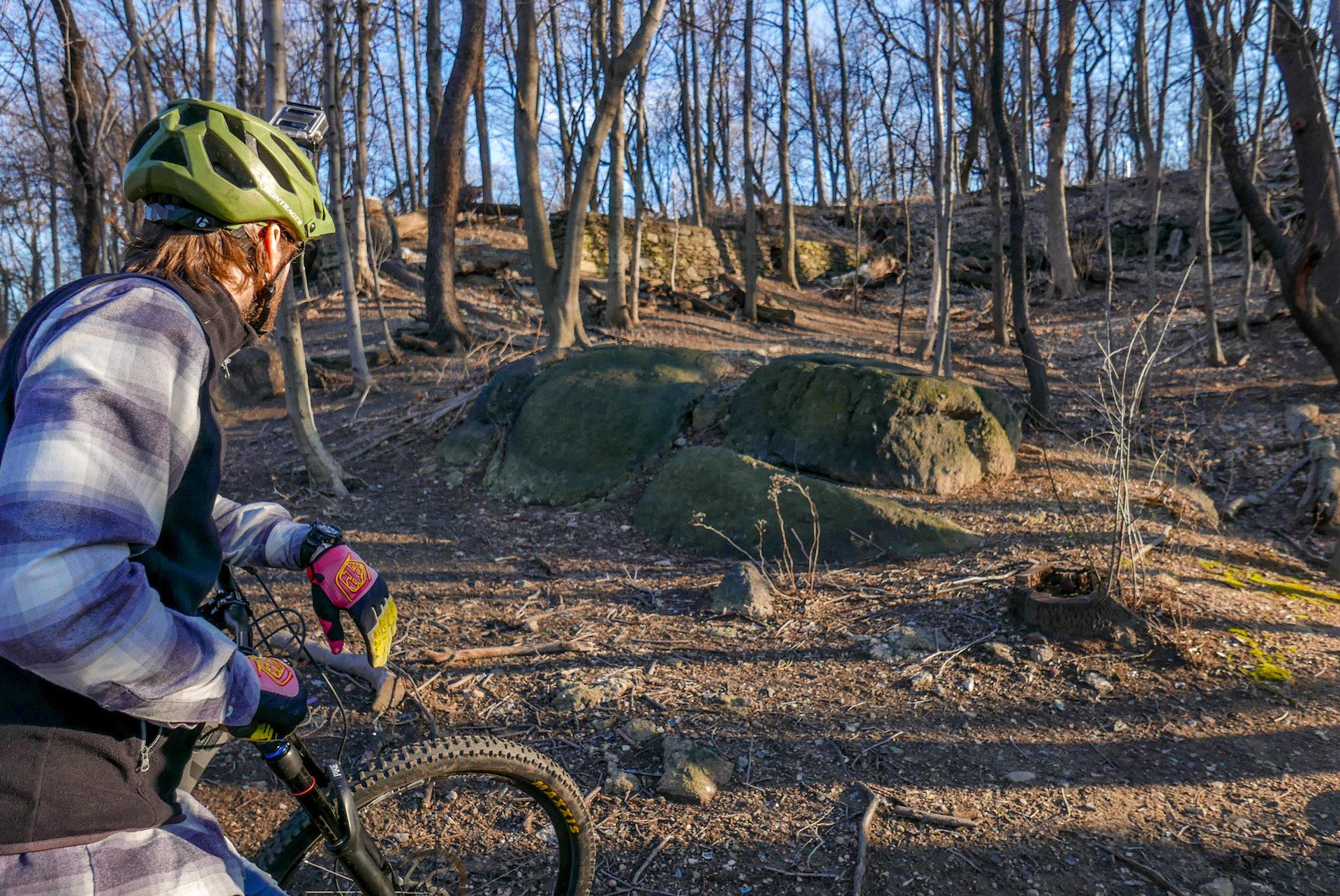 Bostjan surveys the rock obstacles.
