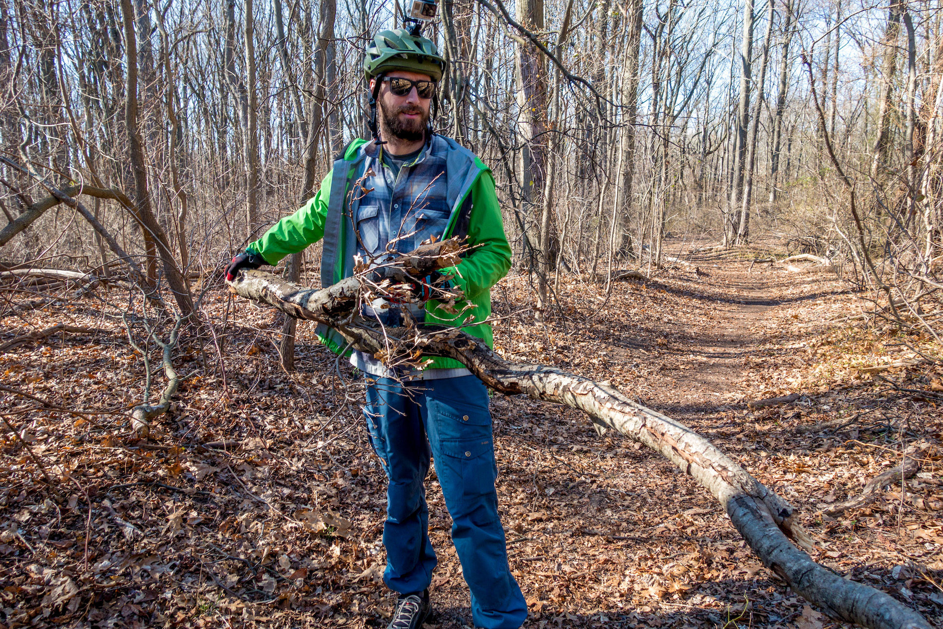 Mountain Bikers do their part to keep the trails clean.