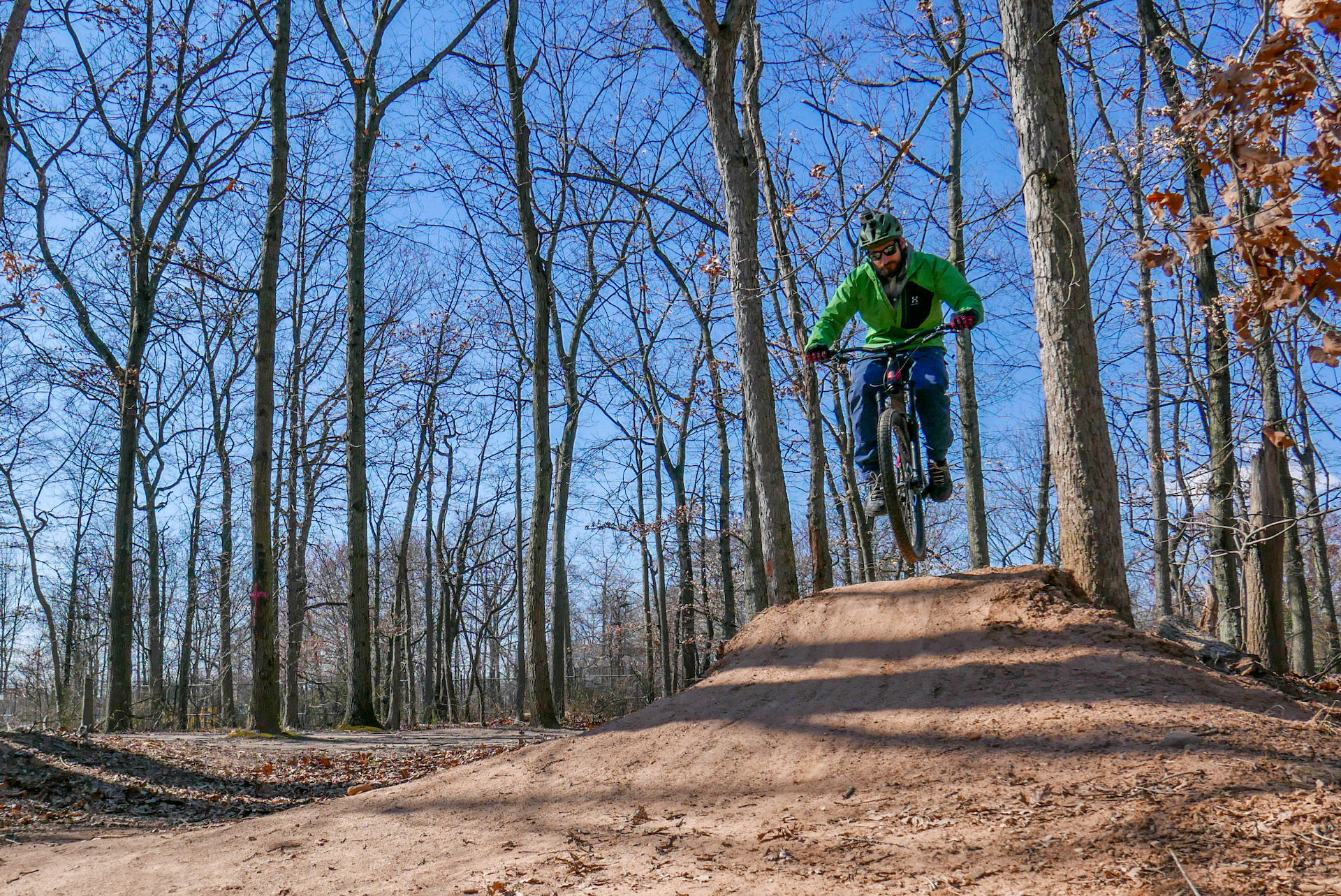 Bostjan hits some jumps at the Wolfe's Pond Dirt Park.