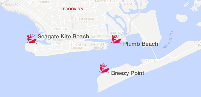 Kiteboarding NYC in south Brooklyn: Breezy Point, Seagate, and Plumb Beaches
