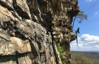 Rock climber in the Gunks, NY