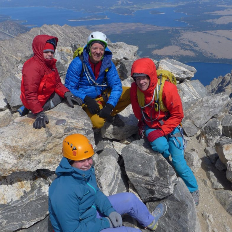 The family celebrating our Grand Teton summit! That's me on the bottom. :)