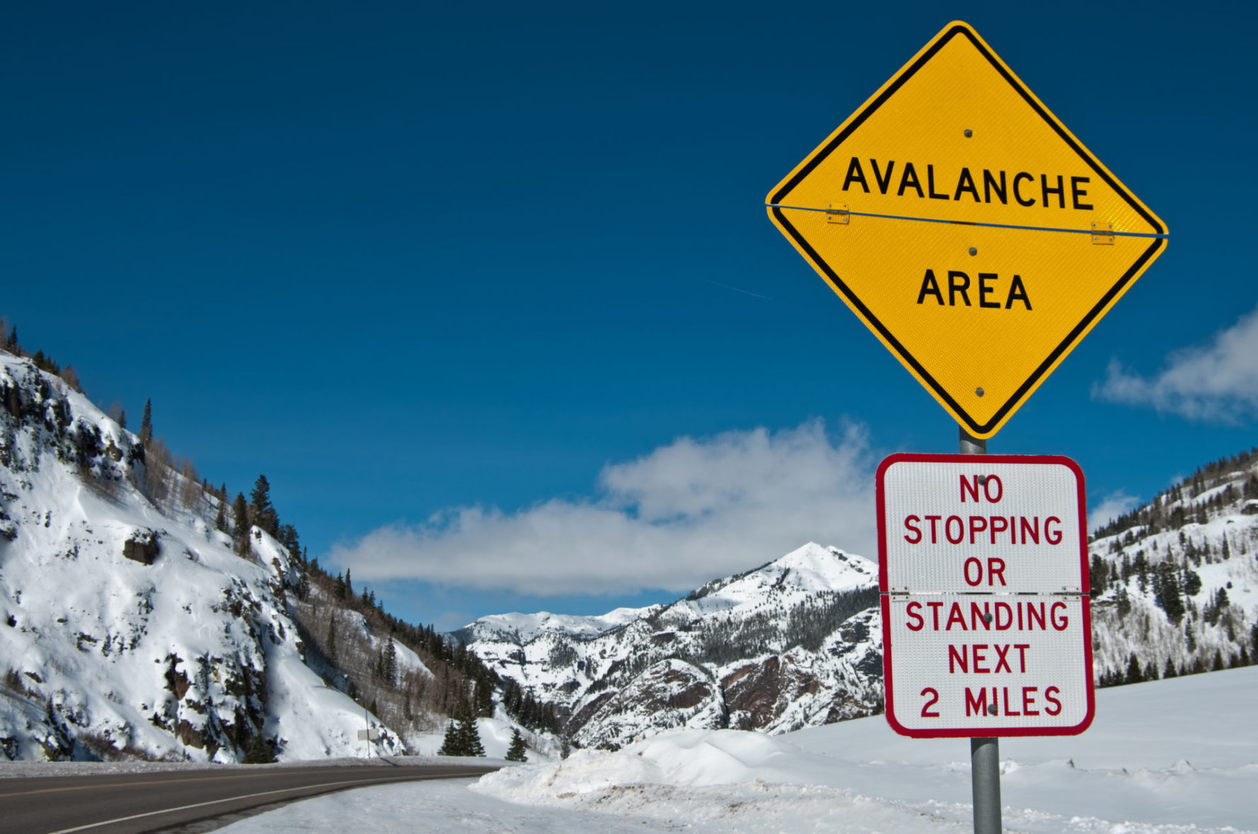 Avalanche road sign Colorado