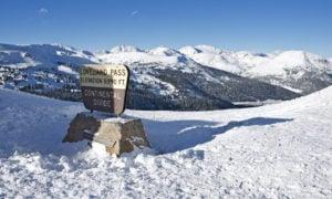 Loveland Pass Summit in Winter. Colorado, United States.