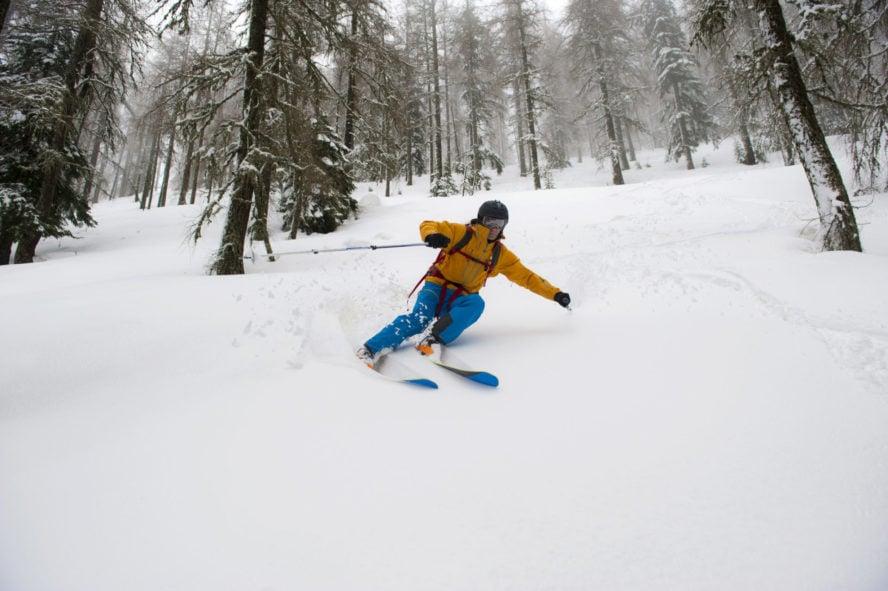 Skiing powder in Colorado