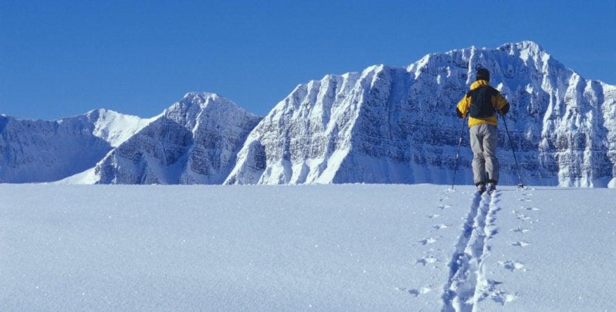 Kananaskis skier looking thoughtful, pensive, excited