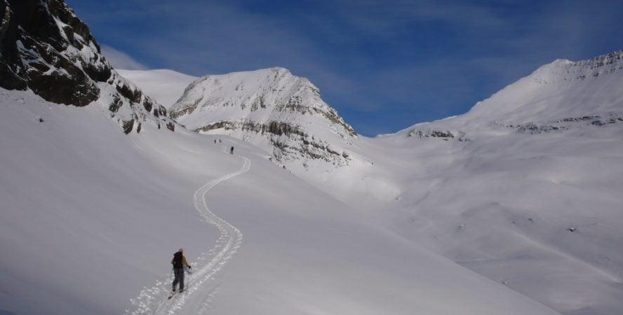 Backcountry skier crushing it on Lake Louise