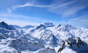 Epic snowy mountain shot in Verbier