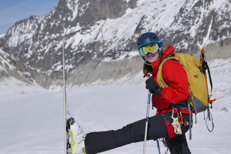 Skier with proper backcountry gear