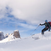 Backcountry skiing in the scenic dolomites