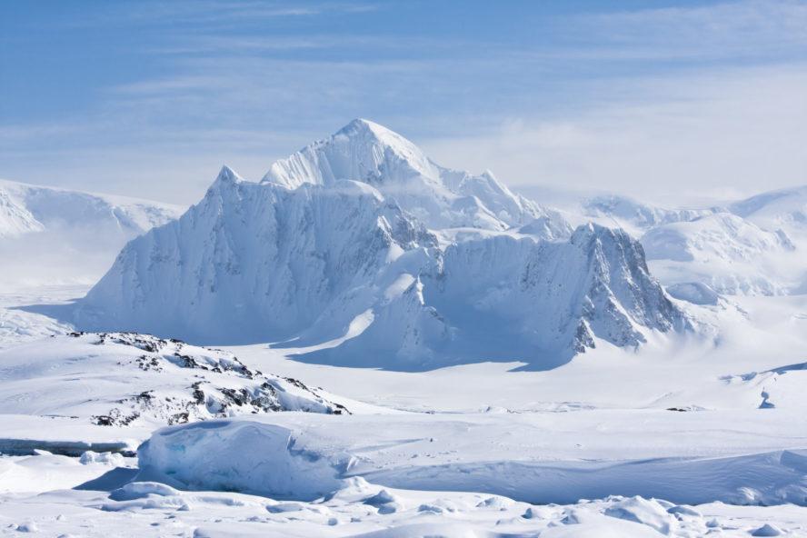 Snow covered Antarctic peak