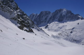 View of snowfield outside of Chamonix