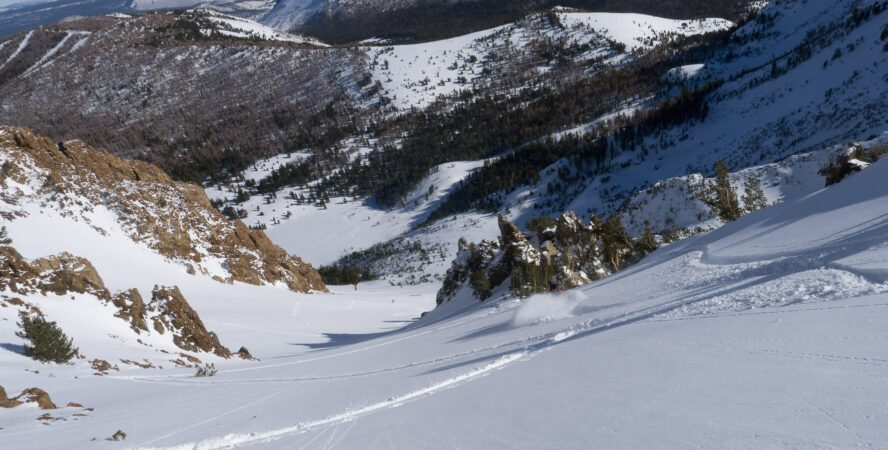 Backcountry powder turns at June mountain.