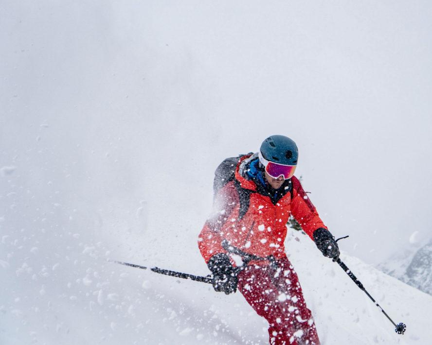Greg Hill skiing powder at Rogers Pass
