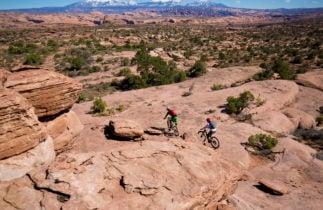 Mountain bikers cycling in Moab