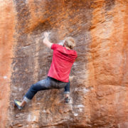 Guy climbing some rocks at Rocklands