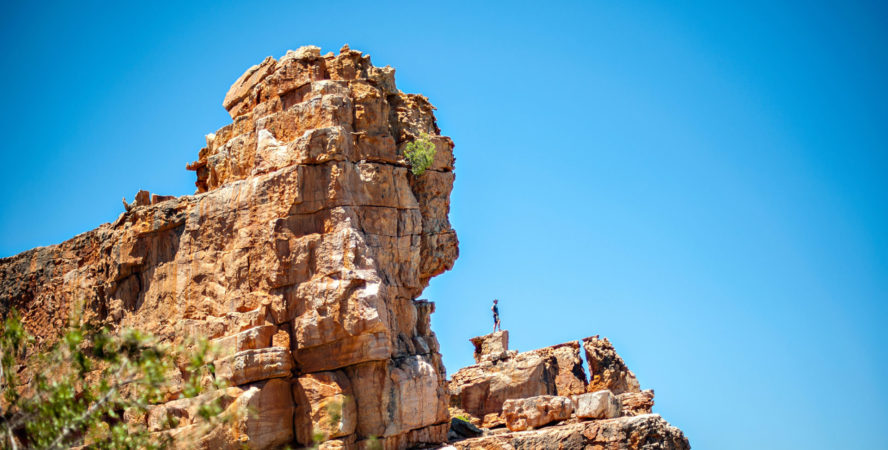 Dude taking in the view in Rocklands, South Africa