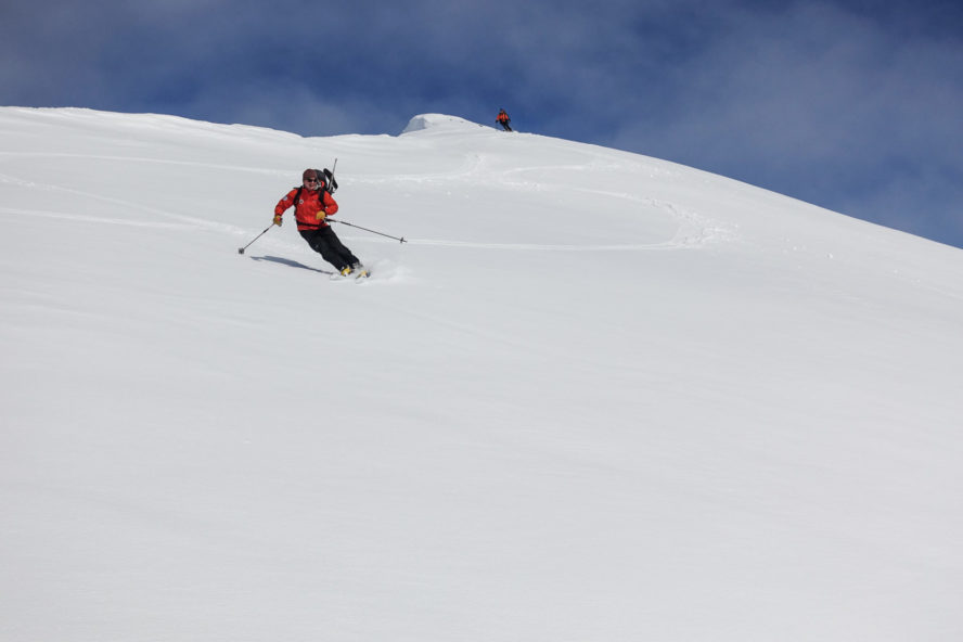 Cruising down some epic pow in Svalbard