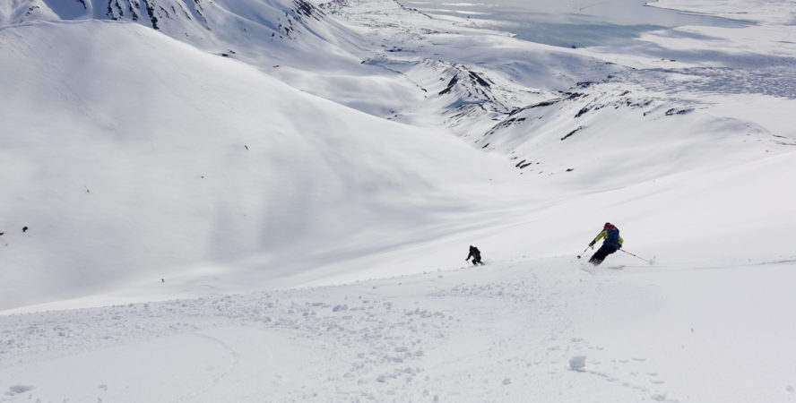 Epic shot of skiers in Svalbard