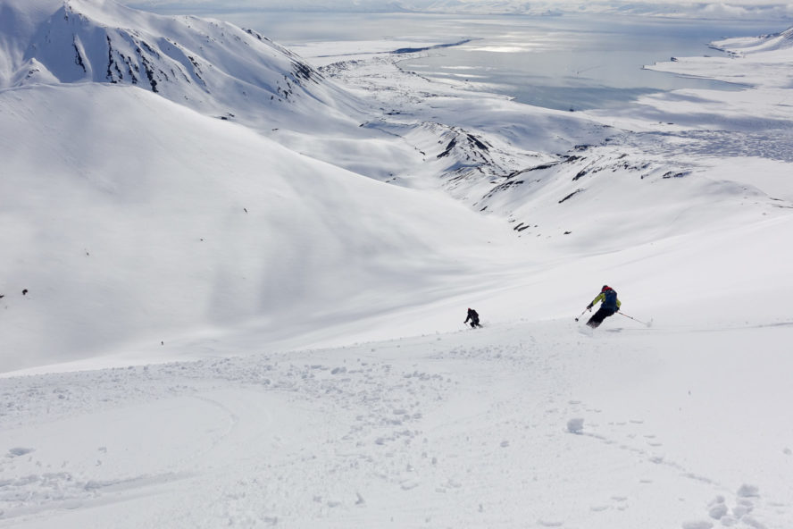 Epic shot of skiers in Svalbard