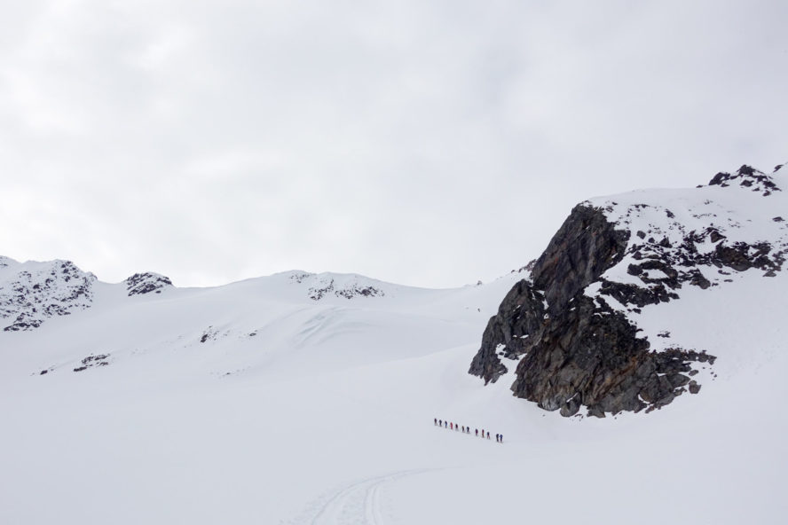 A group making an ascent fo backcountry ski later