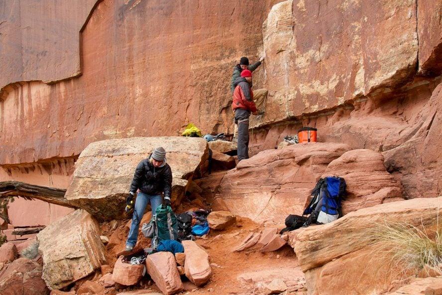 Crack climbing at indian creek