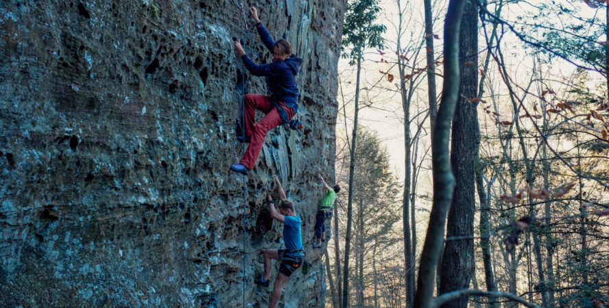 Climbers climbing in the shade