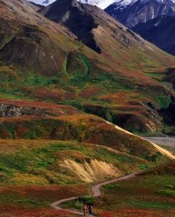 Wanderer in the mountainous landscape.