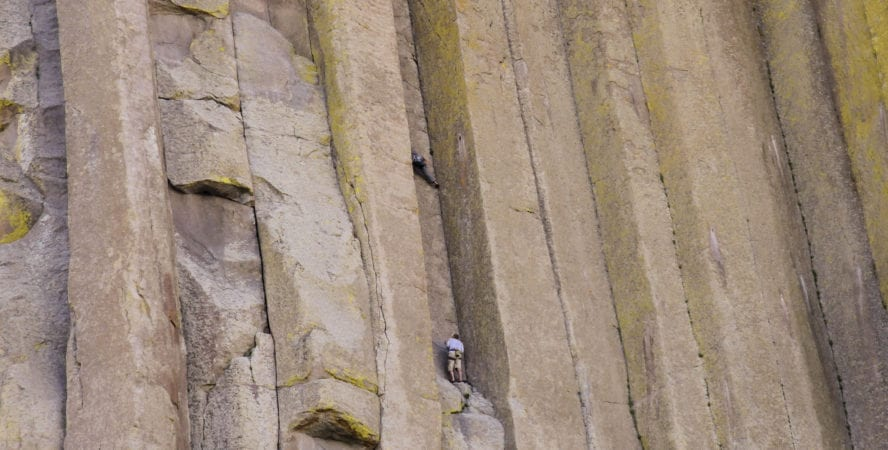 Climbers on Devil's Tower, Wyoming