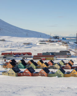 A city details of Longyearbyen - the most Northern settlement in the world. Svalbard . Norway.