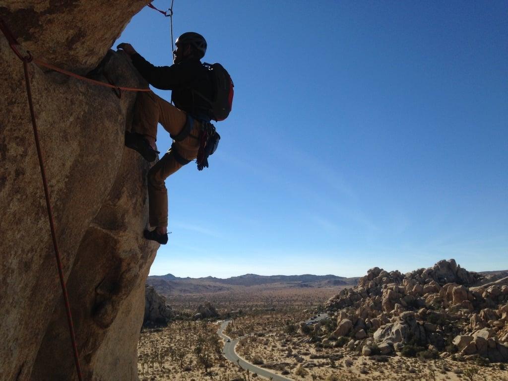 Lead climbing in Joshua Tree
