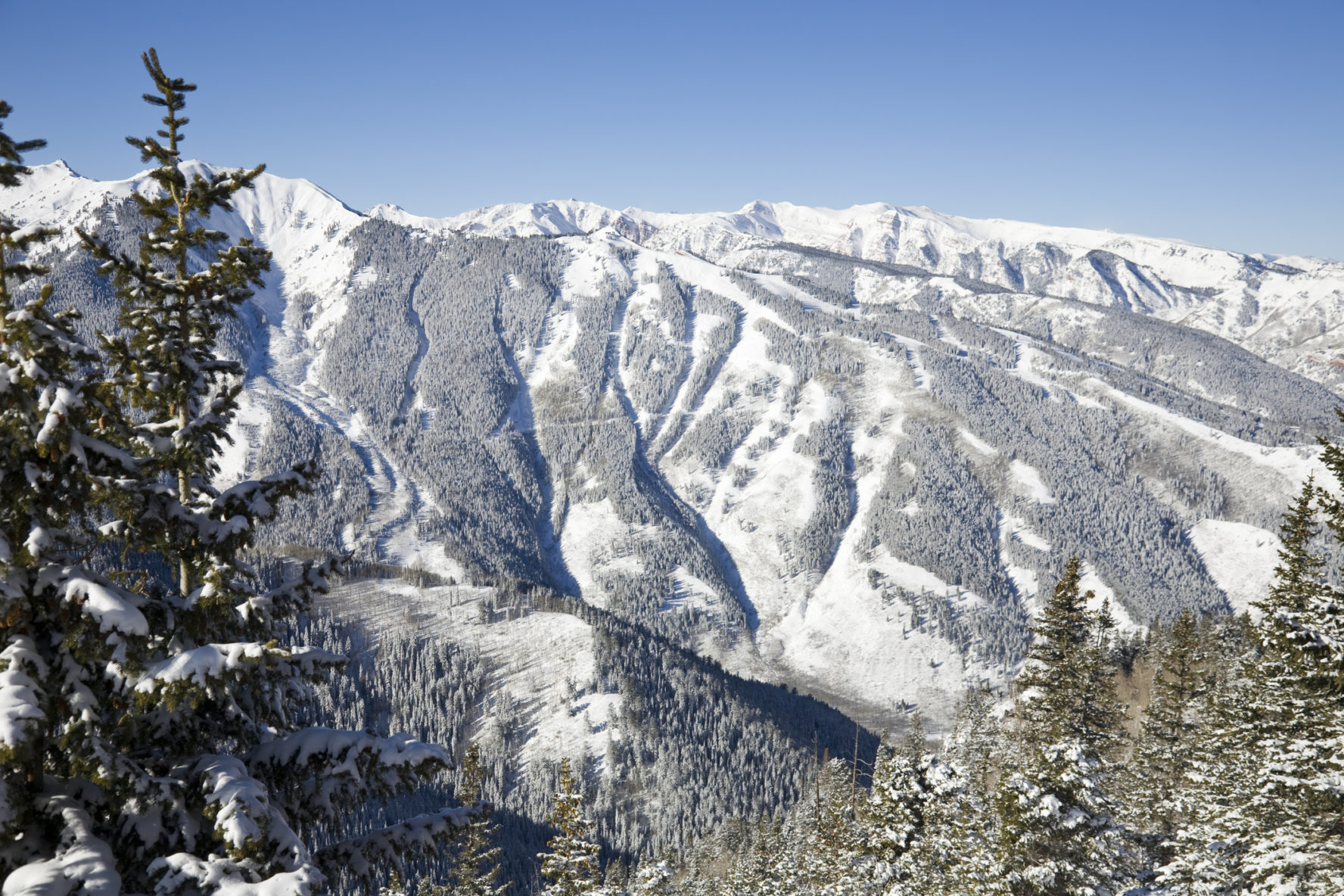A view of Aspen Highlands from Aspen Mountain. The black diamond runs off the ridge in the background are capped by Highland Bowl on the left.
